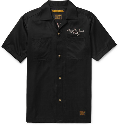 Neighborhood Camp-Collar Embroidered Satin Shirt