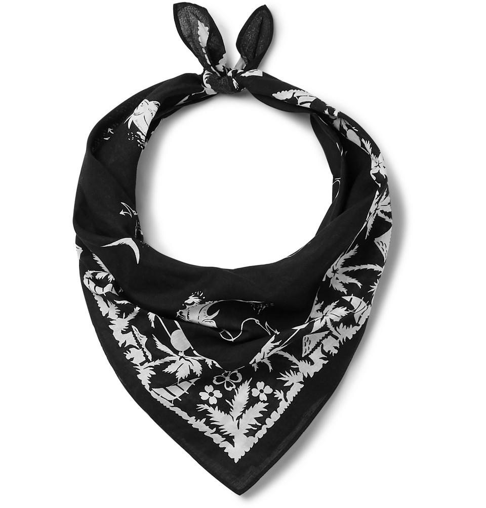 Printed Cotton-voile Bandana - Black
