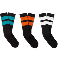 Neighborhood Three-Pack Ribbed Striped Cotton-Blend Socks