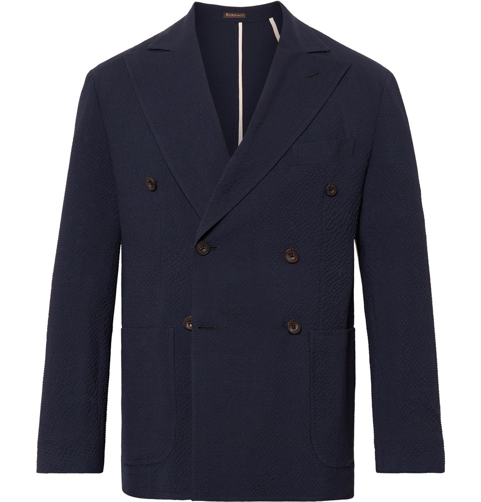 Navy Unstructured Double-breasted Wool-seersucker Blazer - Blue