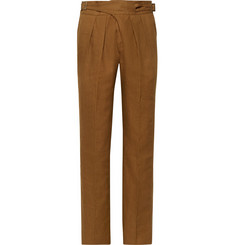 Rubinacci Manny Tapered Pleated Linen Trousers