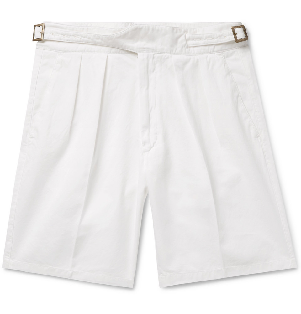 Manny Pleated Cotton-twill Bermuda Shorts - White