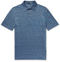 Rubinacci Striped Slub-Linen Polo Shirt
