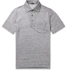 Rubinacci - Striped Slub-Linen Polo Shirt