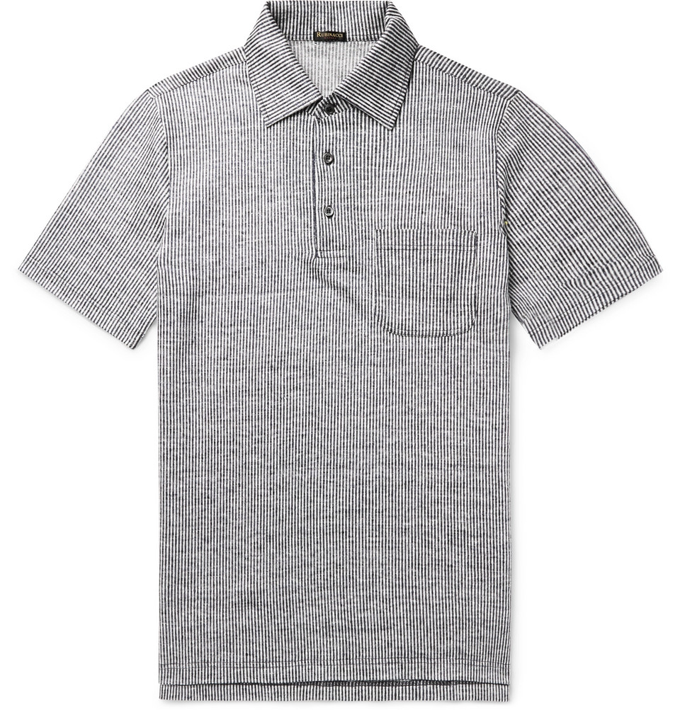 Striped Slub-linen Polo Shirt - Storm blue