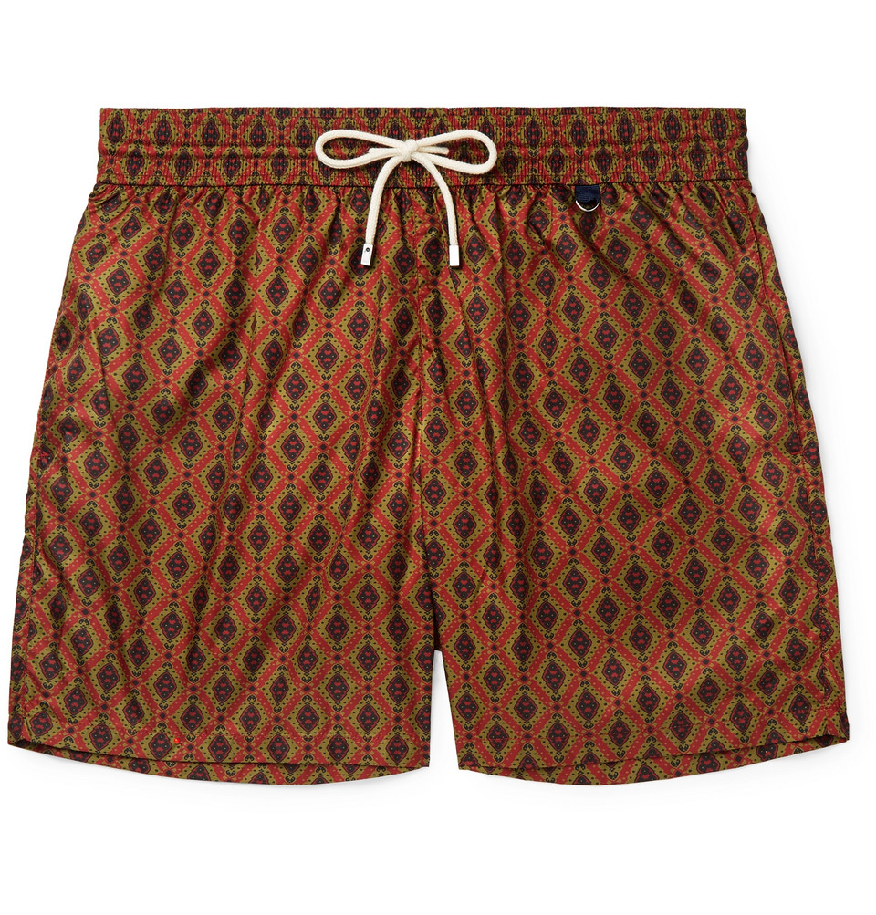 Mid-length Printed Swim Shorts - Red