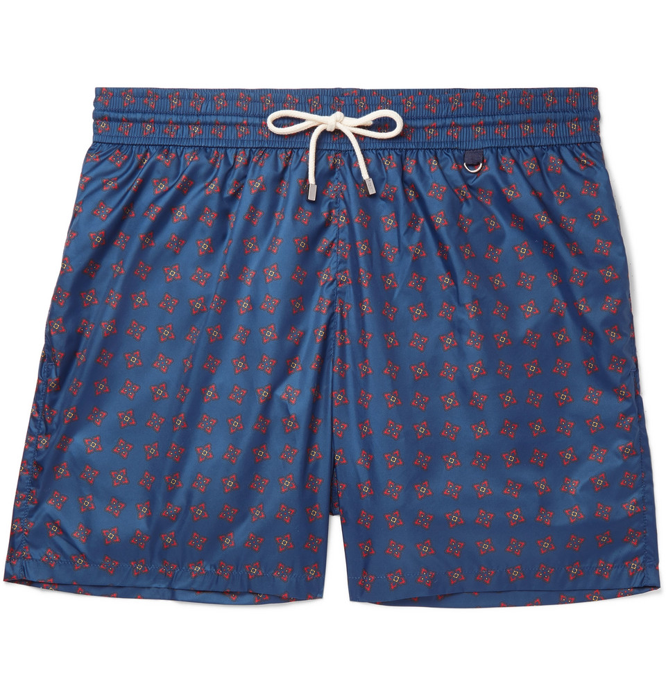Mid-length Printed Swim Shorts - Blue
