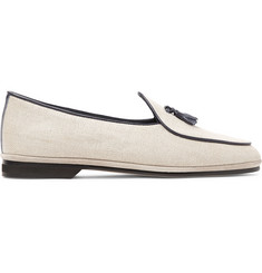 Rubinacci Marphy Leather-Trimmed Herringbone Wool Tasselled Loafers