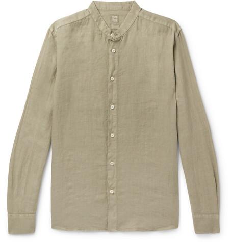 120% Grandad-collar Garment-dyed Linen Shirt In Green