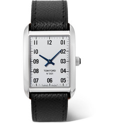 TOM FORD 001 Stainless Steel and Pebble-Grain Leather Watch