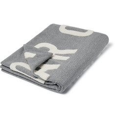 Fear of God Logo-Appliquéd Mélange Loopback Cotton-Blend Jersey Blanket