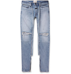 Fear of God Slim-Fit Tapered Belted Distressed Selvedge Denim Jeans