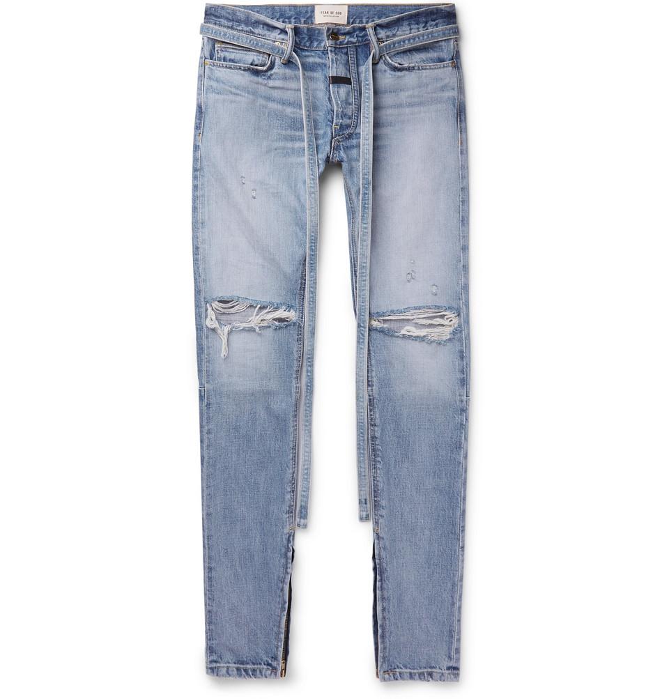 Slim-fit Tapered Belted Distressed Selvedge Denim Jeans - Light blue