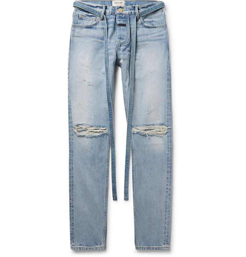Slim-fit Belted Distressed Selvedge Denim Jeans - Light blue