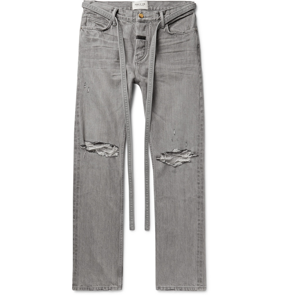 Relaxed-fit Belted Distressed Selvedge Denim Jeans - Gray