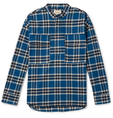 2ee325f33 Fear of God - Grandad-Collar Checked Cotton-Flannel Shirt
