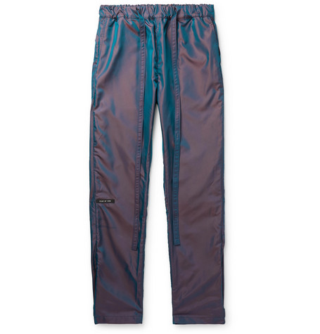Slim Fit Logo Appliquéd Iridescent Nylon Drawstring Trousers by Fear Of God