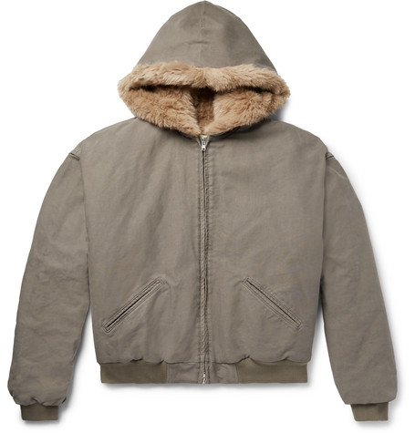 Faux Fur Lined Cotton Corduroy Hooded Jacket by Fear Of God