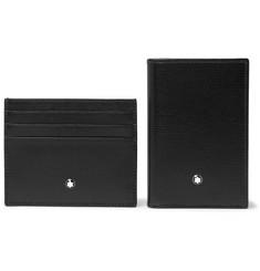 몽블랑 카드지갑 명함지갑 세트 Montblanc Cross-Grain Leather Billfold Wallet and Cardholder Gift Set,Black
