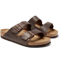 버켄스톡 아리조나 샌들 Birkenstock Arizona Oiled-Leather Sandals,Dark brown