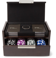 Ralph Lauren Home Sutton Walnut Wood, Carbon-Fibre Leather and Polished Nickel Poker Set