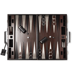 Ralph Lauren Home Sutton Walnut, Leather and Stainless Steel Backgammon Set
