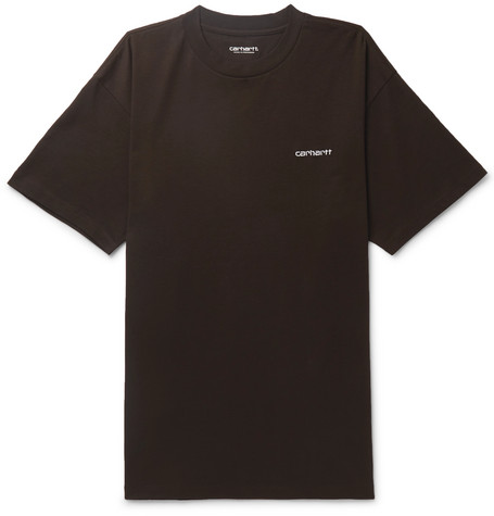 CARHARTT | Carhartt WIP - Script Logo-Embroidered Cotton-Jersey T-Shirt - Black | Goxip