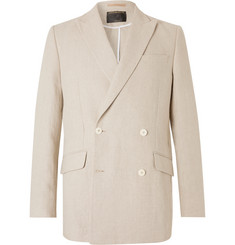 Favourbrook - Stone Evering Double-Breasted Linen Suit Jacket