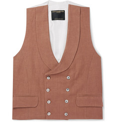 Favourbrook - Brick Double-Breasted Linen Waistcoat
