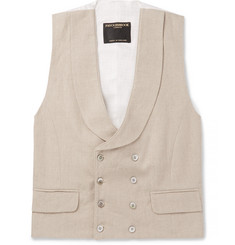 Favourbrook - Stone Evering Double-Breasted Linen Waistcoat