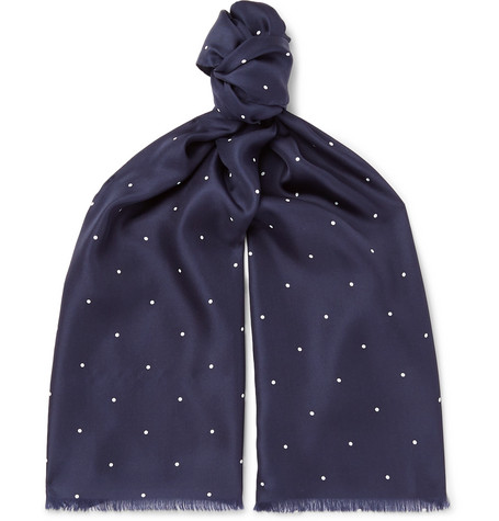 Favourbrook Fringed Polka-Dot Silk Scarf