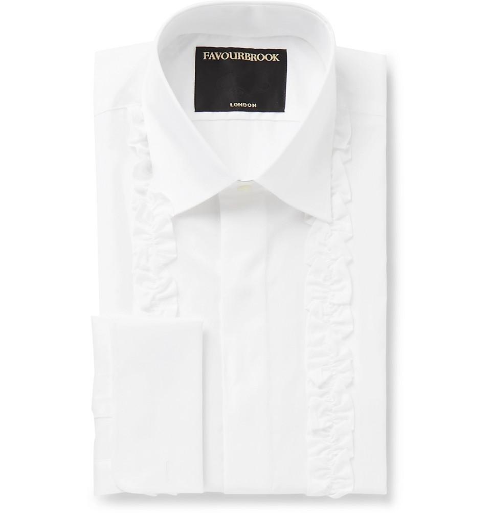 White Double-cuff Ruffled-front Cotton-poplin Tuxedo Shirt - White