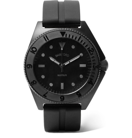 BAMFORD WATCH DEPARTMENT Mayfair Stainless Steel And Rubber Watch in Black