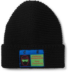Logo-appliquéd Ribbed-knit Beanie - Black