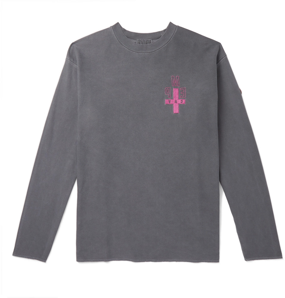 Appliquéd Cotton-jersey T-shirt - Anthracite