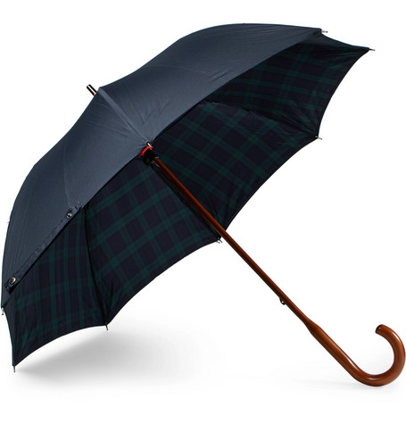Black Watch Lined Wood Handle Umbrella by London Undercover