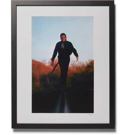 "SONIC EDITIONS Framed 1969 Johnny Cash Print, 16"" X 20"" in Black"