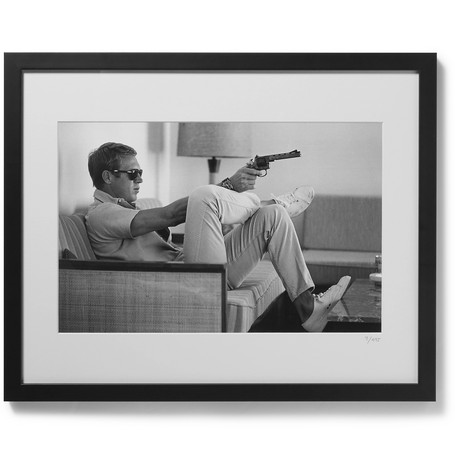 "SONIC EDITIONS Framed 1963 Steve Mcqueen Print, 20"" X 16"" in Black"