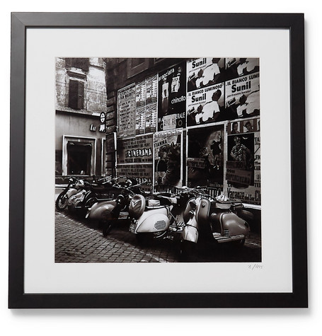 "SONIC EDITIONS Framed 1955 Scooters In Rome Print, 16"" X 20"" in Black"