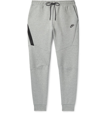 Sportswear Slim Fit Tapered Mélange Cotton Blend Tech Fleece Sweatpants by Nike