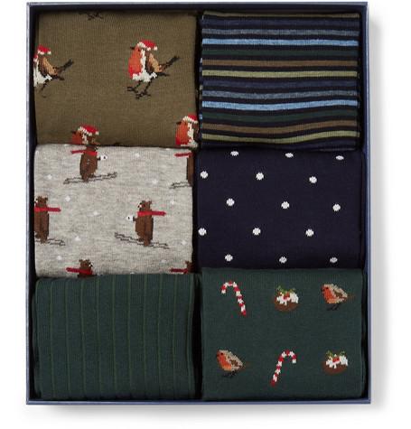 CORGI Six-Pack Cotton-Blend Socks - Multi - One Siz