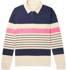Mr P. - Twill-Trimmed Striped Cotton-Jersey Rugby Shirt