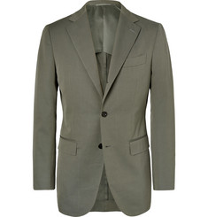 Beams F Army-Green Slim-Fit Cotton-Twill Suit Jacket