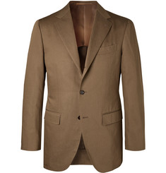Beams F - Brown Slim-Fit Cotton and Linen-Blend Twill Suit Jacket