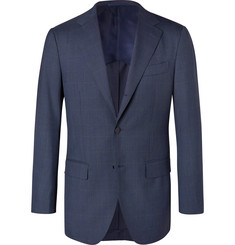 Beams F Navy Slim-Fit Prince of Wales Checked Wool Suit Jacket