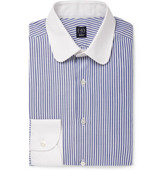 Beams F Blue Cleric Slim-Fit Penny-Collar Striped Cotton Oxford Shirt