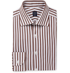 Beams F Brown Striped Cotton-Poplin Shirt