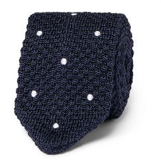Beams F Embroidered Polka-Dot Knitted Silk Tie