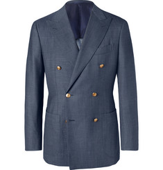 Beams F Indigo Slim-Fit Double-Breasted Mélange Wool, Silk and Linen-Blend Denim Blazer