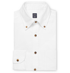Beams F White Slim-Fit Button-Down Collar Cotton Shirt